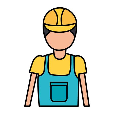 travailleur de la construction dans l'illustration vectorielle uniforme globale