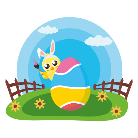 happy easter chick egg painted in the meadow vector illustration