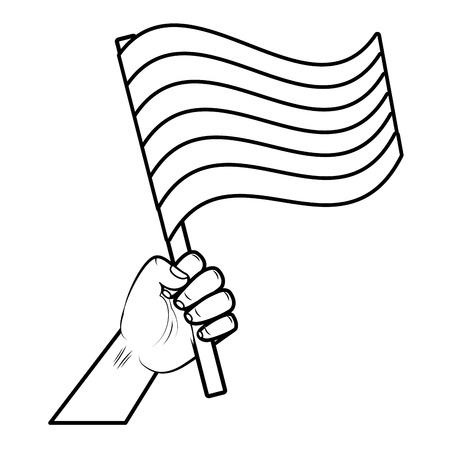 hand with flag rainbow lgbt pride love vector illustration Illustration