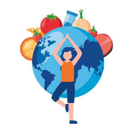 woman food yoga world health day vector illustration Illustration