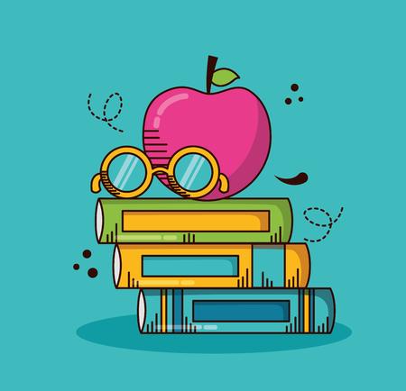 books stack apple eyeglasses school teachers day vector illustration design