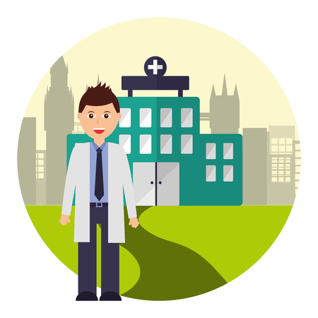 doctor professional staff hospital city vector illustration