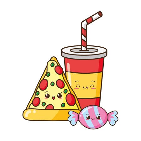 Kawaii pizza soda dulces alimentos dibujos animados ilustración vectorial
