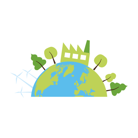 planet factory ecology energy earth day vector illustration Иллюстрация