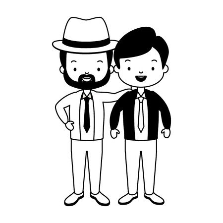 father and grandfather together family vector illustration