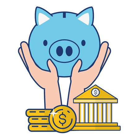 hands piggy bank coins online banking vector illustration vector illustration Foto de archivo - 122837180