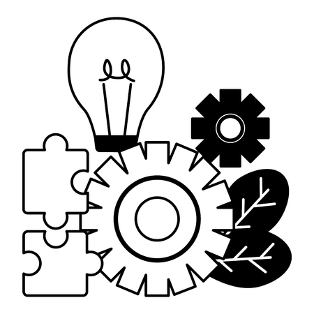 business bulb gear puzzles vector illustration design