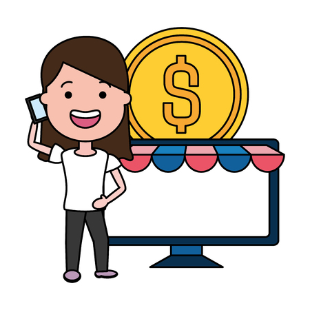 woman using smartphone and desktop with coin vector illustration design