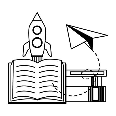 rocket textbook paper plane - world book day vector illustration Foto de archivo - 122837200