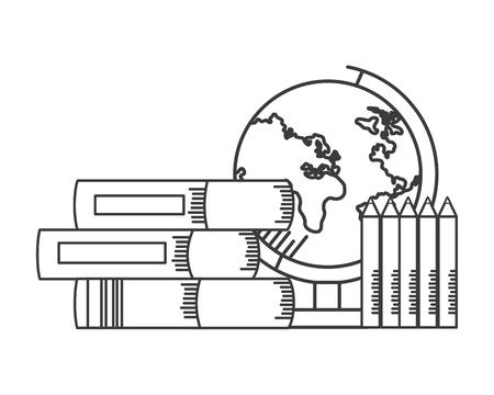 globe map books pencils school supplies vector illustration design 일러스트