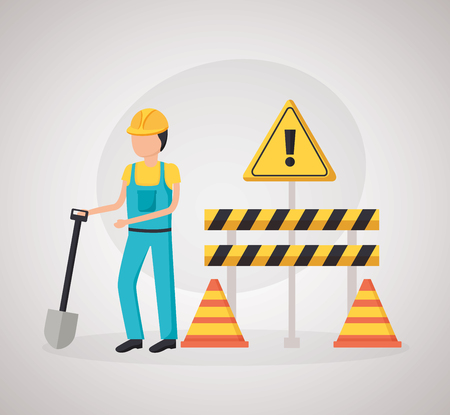 construction worker shovel barrier cone vector illustration Иллюстрация