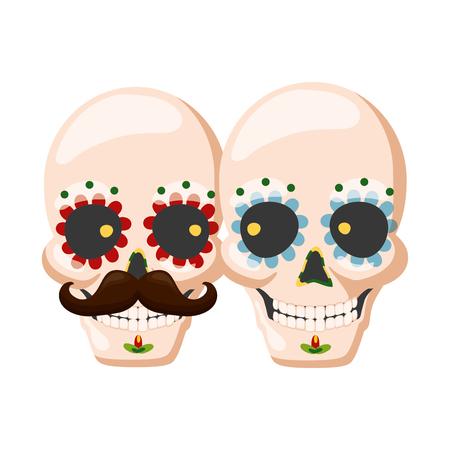 catrina skull flower character vector illustration design vector illustration Standard-Bild - 122837218