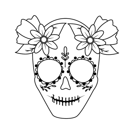 catrina skull flower character vector illustration design
