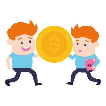 businessmen dollar coin online banking vector illustration  イラスト・ベクター素材