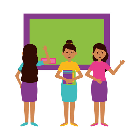 women with books and blackboard teachers day card vector illustration
