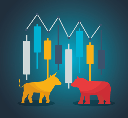 bull bear candlestick financial stock market vector illustration