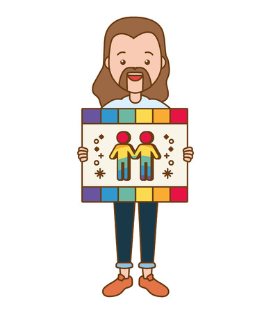 guy with board lgbt pride vector illustration Stock Vector - 121750507