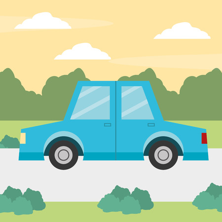car road bushes nature cartoon vector illustration design