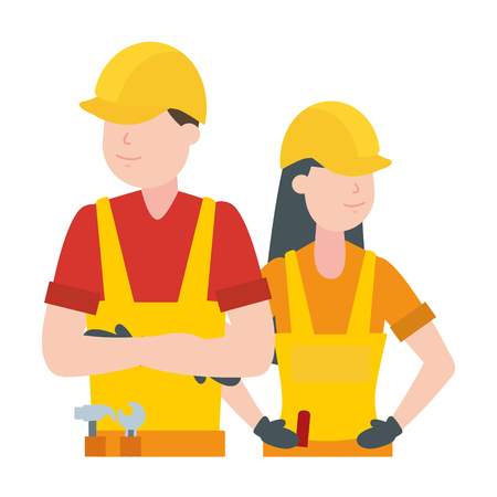 happy labour day man woman worker vector illustration  イラスト・ベクター素材