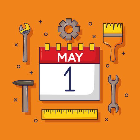 calendar tools celebration labour day vector illustration
