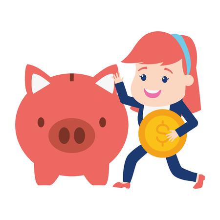 woman purse piggy bank online banking vector illustration Foto de archivo - 122807251