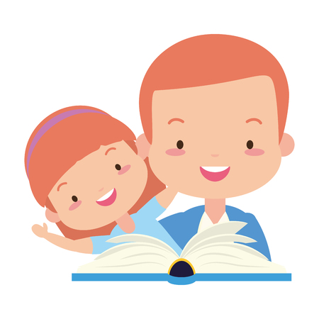 father daughter with reading book vector illustration design Stock Vector - 121749433
