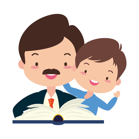 father son with reading book vector illustration design Stock Vector - 122807263