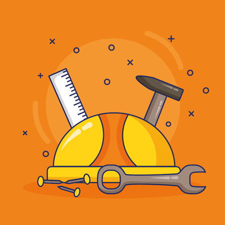 helmet ruler hammer screw spanner labour day vector illustration