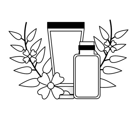 lotion tube gel flowers spa treatment therapy vector illustration