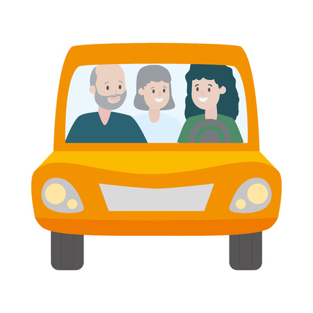 family mom and grandparents in the car vector illustration design Stock Illustratie