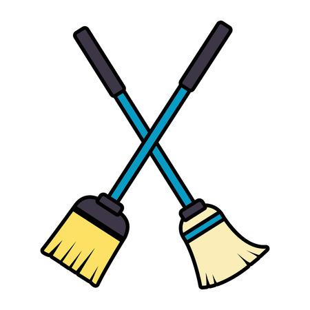 illustrazione vettoriale di strumenti per la pulizia di primavera scopa e mop