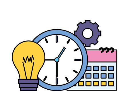 business clock time calendar bulb vector illustration vector illustration Illustration