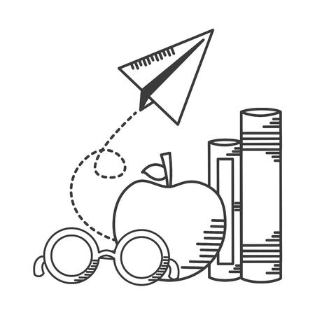 apple books paper plane school supplies vector illustration design Foto de archivo - 121750552