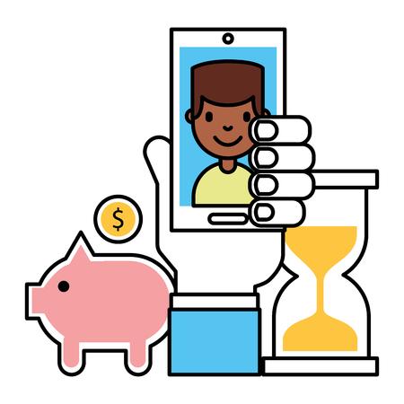 Hand mit mobilen Menschen Sparschwein Uhr Geld Business Vector Illustration Vektorgrafik