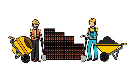 construction workers with wheelbarrow and mixer equipment vector illustration Standard-Bild - 121750378