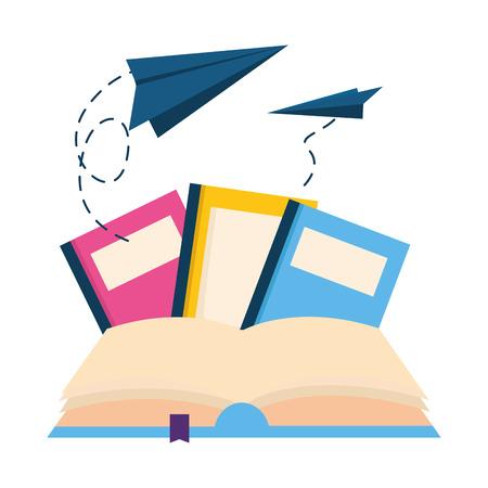 world book day flying paper plane imagination read vector illustration