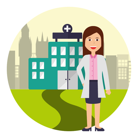 doctor female standing front hospital vector illustration