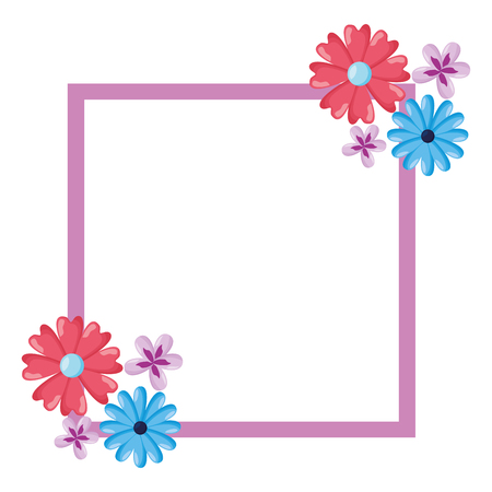 flowers badge decoration empty template vector illustration