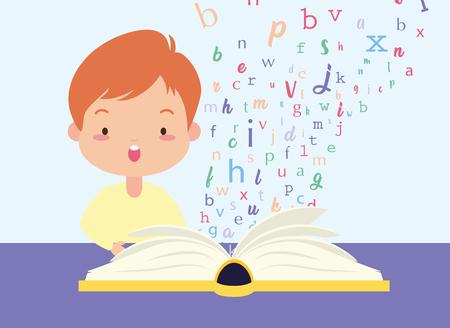 boy reading textbook - world book day vector illustration Illustration