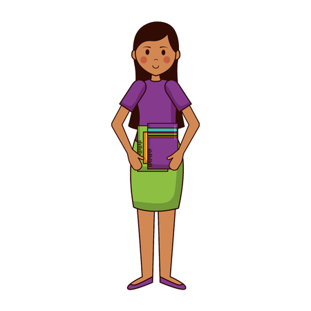 woman with books teachers day vector illustration