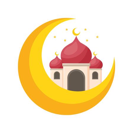 taj mahal half moon islamic vector illustration design Banque d'images - 121781457