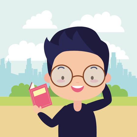 boy with textbook in the park - world book day vector illustration