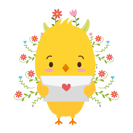 cute chick cartoon mail love vector illustration Vettoriali