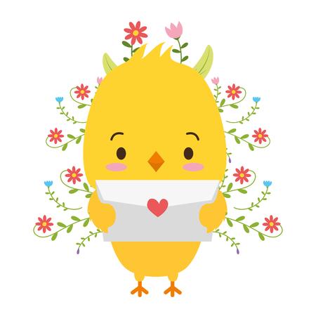 Ejemplo lindo del vector del amor del correo de la historieta del polluelo Ilustración de vector