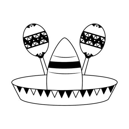 hat guitar maracas mexico cinco de mayo vector illustration