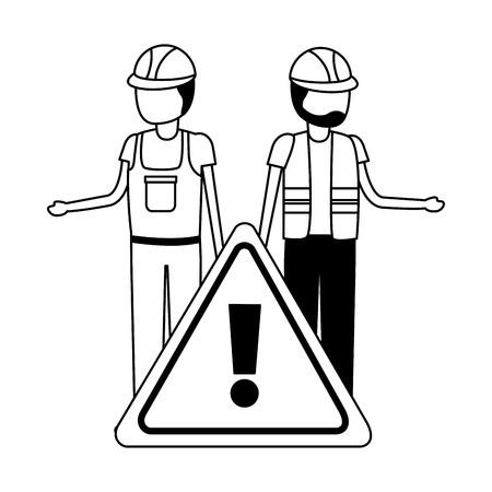 workers contruction warning sign design vector illustration
