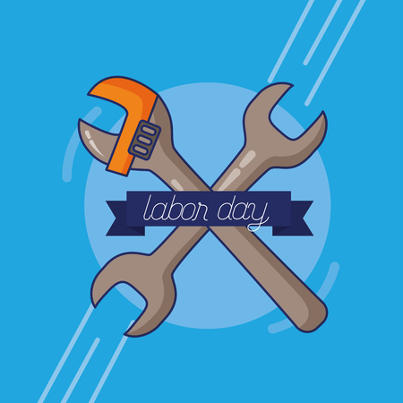 wrench adjustable tools happy labour day vector illustration