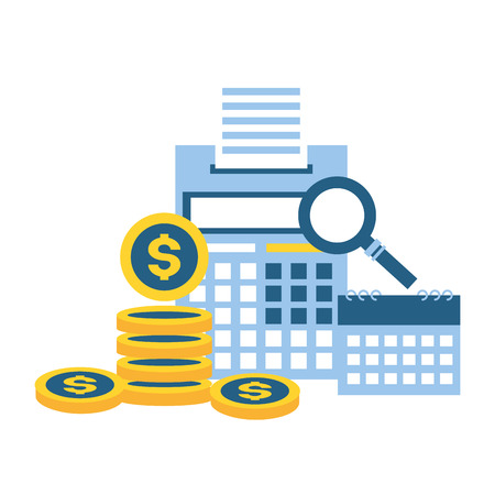 calculator coins money calendar tax payment vector illustration