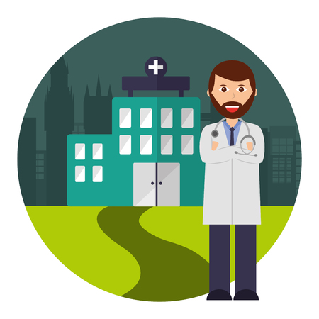 doctor professional staff hospital city vector illustration