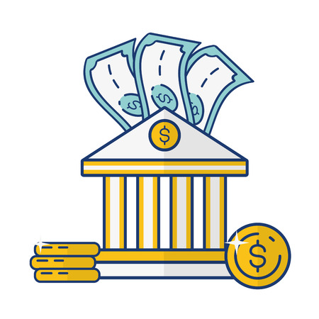 bank banknote coins money online payment vector illustration Stok Fotoğraf - 122807407